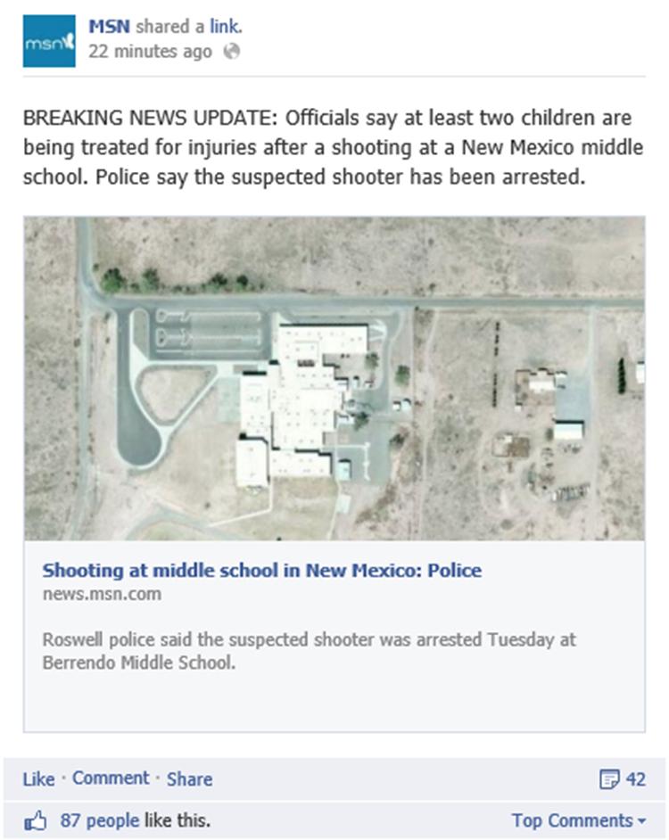 Breaking news Facebook update large