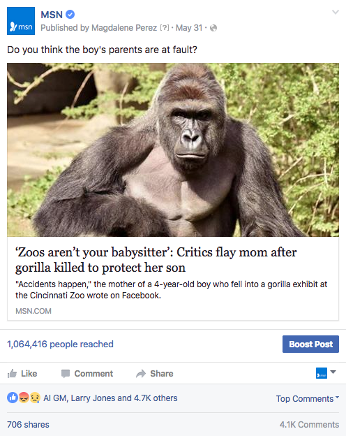 Gorilla FB post