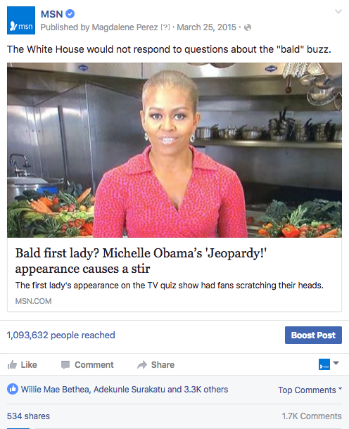 Michelle Obama FB post
