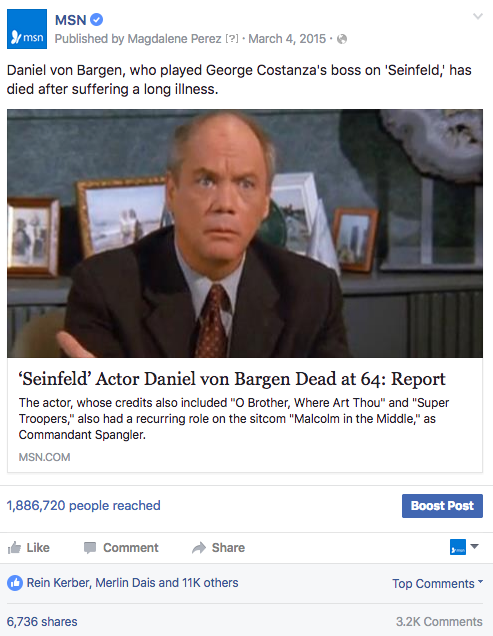 Seinfeld FB post