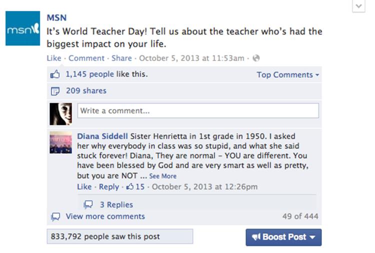 World Teacher Day Facebook post